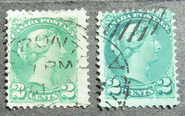 Canada 1872 2C Queen Victoria gez 12 green, Mi #27aA used shades
