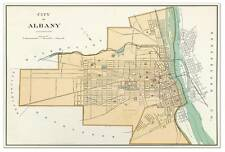 City of ALBANY New York Downtown MAP circa 1895 - Vintage Street Repro Poster