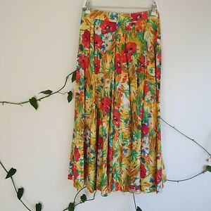 Vintage-80s-Floral-Midi-Cotton-Skirt-M-Red-Colourful-A-Line-Handmade-High-Waist