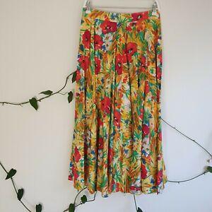 Vtg-80s-90s-Red-Colourful-Floral-Midi-Cotton-Skirt-M-A-Line-Handmade-High-Waist