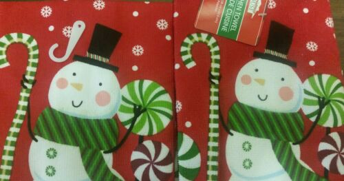 """WINTER SNOWMAN ON RED by CH 15/"""" x 25/"""" SET of 2 SAME PRINTED TOWELS CHRISTMAS"""