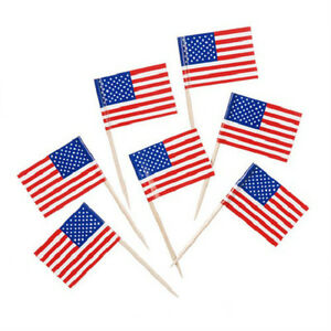 023cd12d5a38 Image is loading 100-USA-American-Flag-Toothpicks-July-4th-Patriotic-