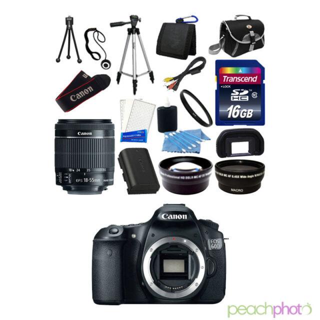 Canon EOS 60D SLR Digital Camera New + 3 Lenses, 16 GB Great Value Kit & More