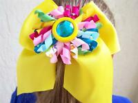 Custom kokeshi Boutique Yellow, Pink Blue Lime, Hair Bow M2m Jelly The Pug