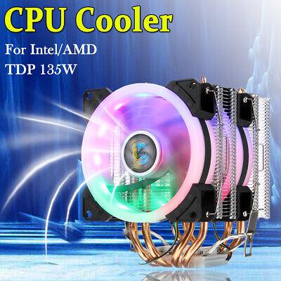 US CPU Cooler LED RGB Fan 4 Pipe 4 Pin For Intel AMD LGA 775//1155//1156//1150//1366