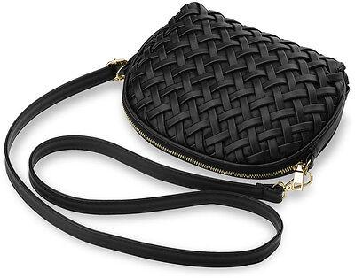 geflochtene Damentasche kleine halbrunde weiche Schultertasche schwarz