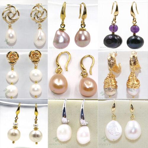 AAA 15-25mm South Sea White Baroque Pearl Earrings 14K YELLOW GOLD Plated