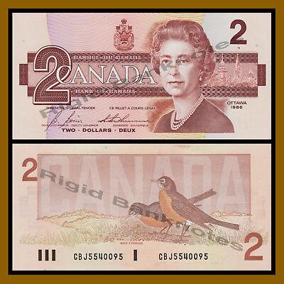 P94 Queen Elizabeth banknote UNC Canada 2 Dollar 1986