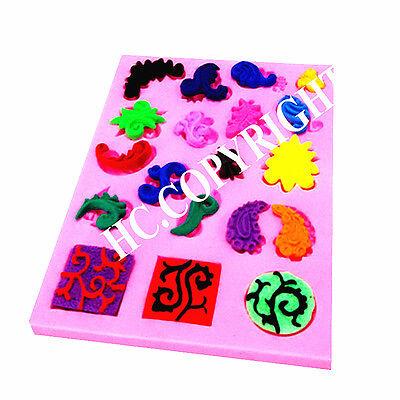 Mini Microbe Cameo Embossed Silicone Fondant Mold Bakeware Cake Decorating Tools