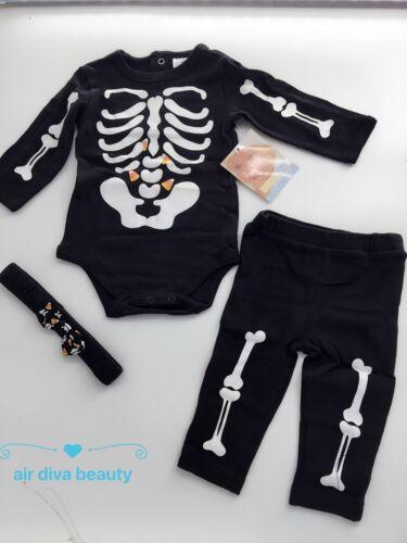 Baby Kid Halloween Skull Skeleton night glow Party Costume Romper Bodysuit Set