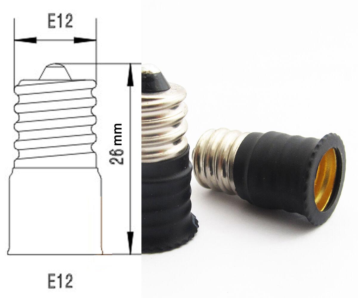 100x E12 Macho a Hembra E12 Base LED Luz Bombilla Adaptador Converdeidor de Socket titular