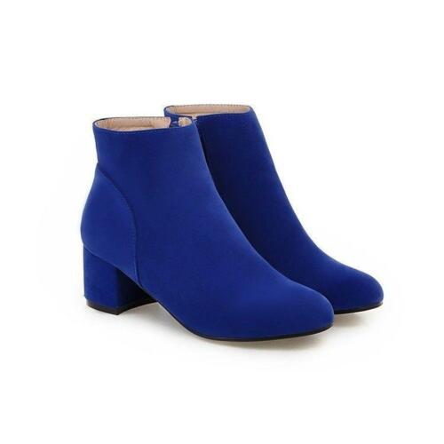 Women Round Toe Casual Ankle Boots Block Heel Suede Side Zip Solid Shoes Zsell