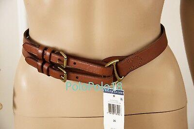 New Ralph Lauren Women Equestrian Tri Strap Leather Belt Brown 24 26 28 32 | eBay