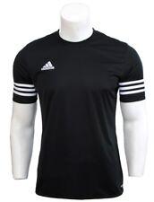 591b4eebdfc adidas Mens Entrada 14 Climalite Short Sleeve Football Gym Training T Shirt  Black / White Large