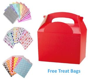 Details About Red Birthday Party Food Meal Lunch Boxes With Free Candy Sweet Cake Bag