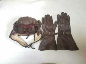 Vintage Imperial JP Army Military Goggles Flying Cap Gloves Set Rare