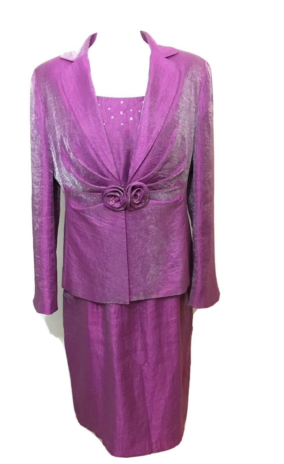Gina Bacconi Lilac Dress & Jacket Size 16 Uk Mother Of The Bride Occasion