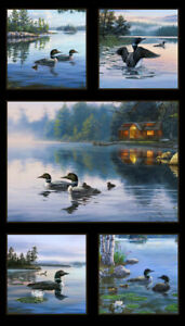 Black-Loons-Duck-Scenic-Elizabeth-039-s-Studio-100-cotton-fabric-by-the-panel