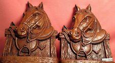 Vintage English Saddle Horse Head SYROCO unmarked BOOK ENDS MAKE OFFER