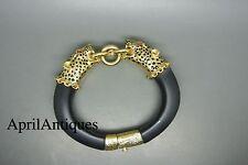 Vintage Franklin Mint gold-tone panther leopard black cuff bracelet