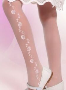 Girl-White-Patterned-Tights-Flowers-Wedding-Communion-Bridesmaids-Hosiery-20-DEN