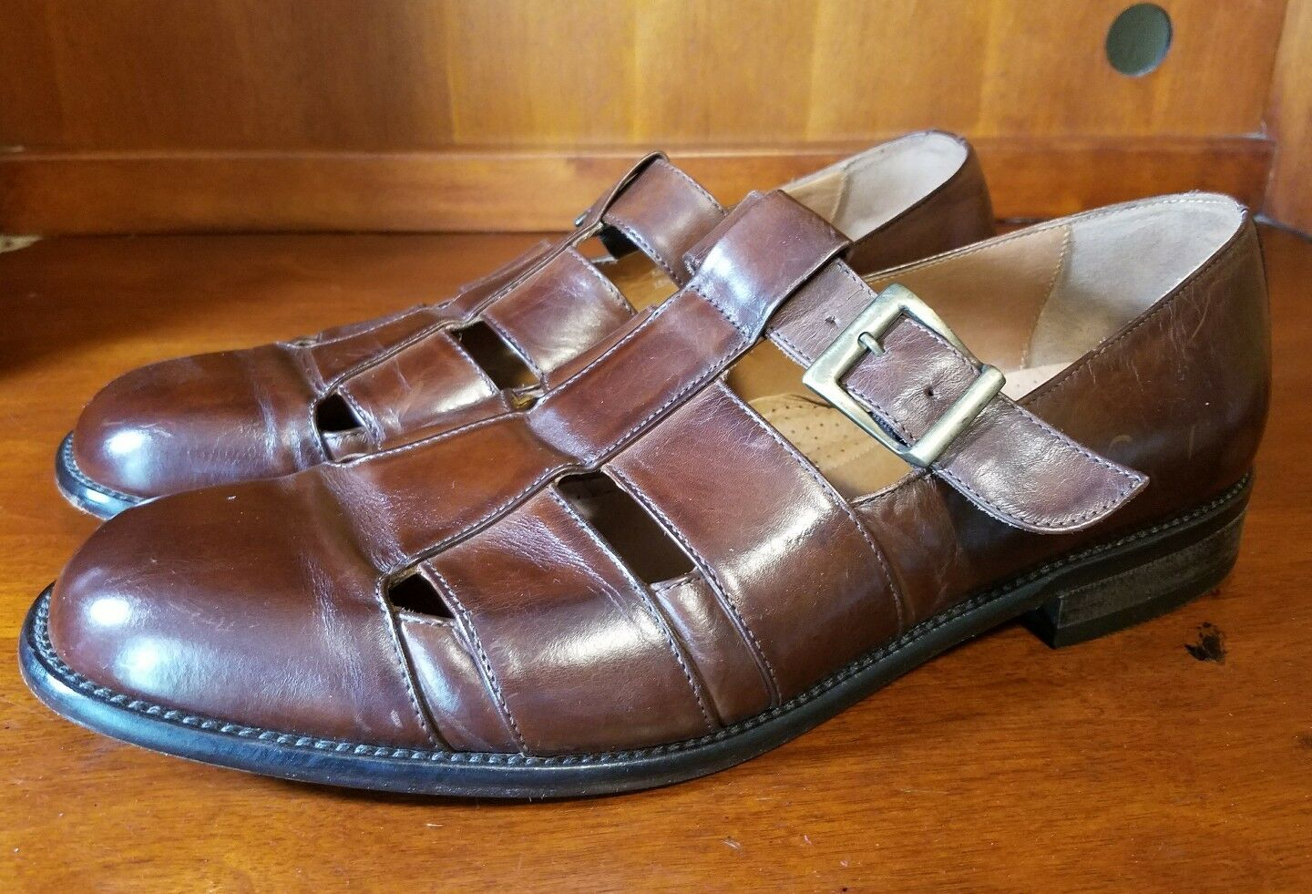 Men BOSTONIAN Brown Casual Leather Buckle Fisherman shoes Size 13 M ITALY