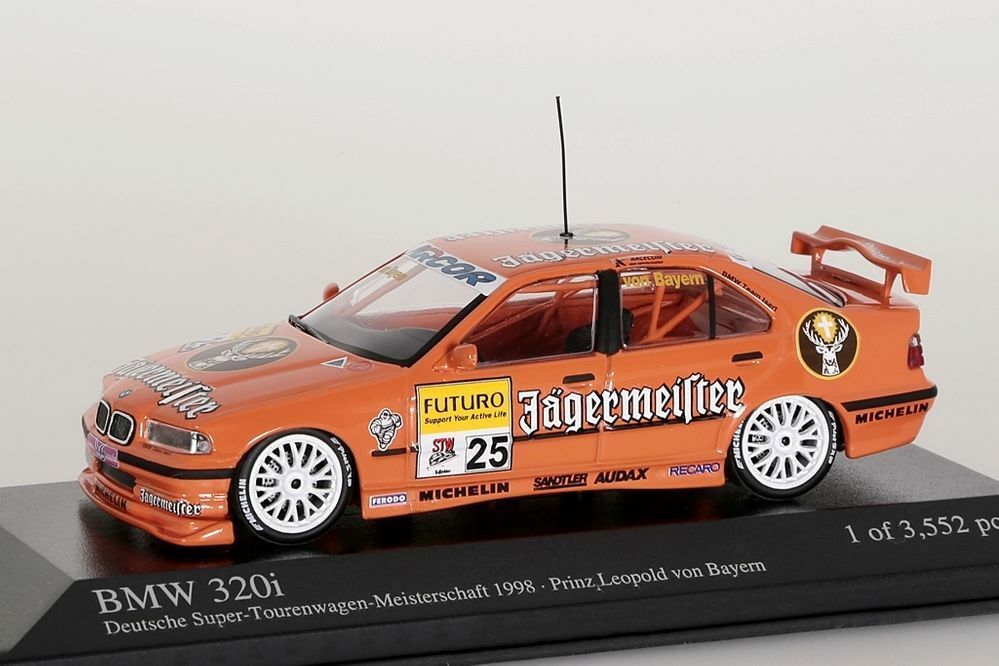 BMW 320i STW 1998 Jägermeister Team Isert, Prinz Leopold Minichamps 1 43 NEU OVP