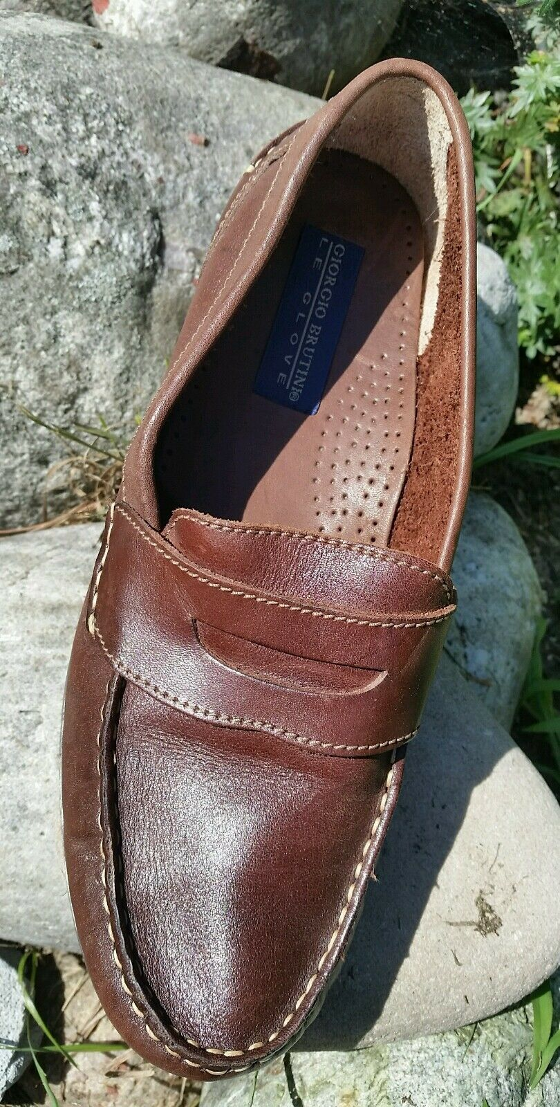 Giorgio Brutini Loafer Shoes Size 10 Brown Loafer Brutini Flat Comfortable Corporate Casual 49aa6e