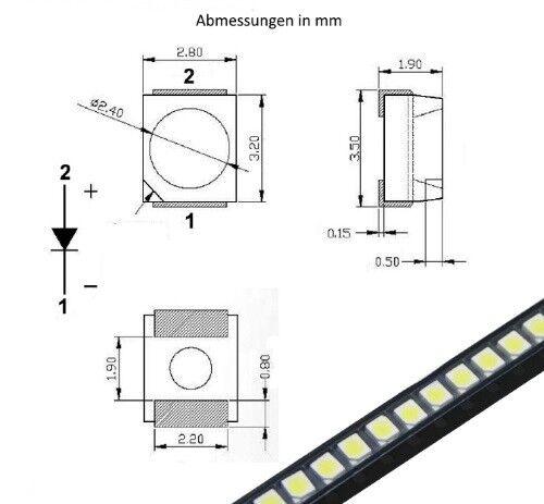 S165-50 Stück SMD LED PLCC-2 3528 warmweiß LEDs 1210 warm white
