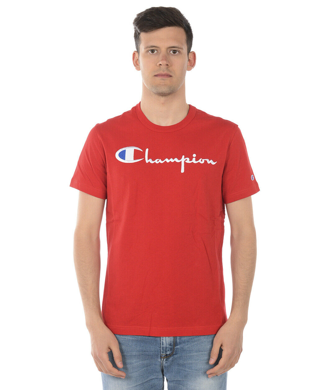 Champion T Shirt Sweatshirt Cotton Man rot 210972 RS053 Sz. L PUT OFFER