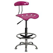 Flash Furniture Low Back Polymer Drafting Stool With Tractor Seat Vibrant Pink