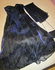 FANCY OCCASION FORMAL BEADED GOWN DRESS NAVY IRIDESCENT JUNIORS LADIES SIZE 14