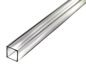 "72"" Acrylic Square Tube (Clear) - 7/8"" ID x 1"" OD x 1/16"" Wall (Nominal)"
