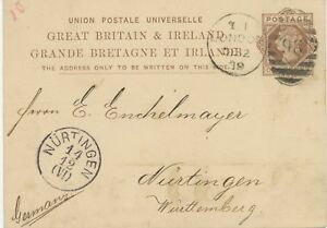 GB-1879-QV-1-d-brown-VF-postcard-w-barred-Duplex-cancel-034-LONDON-98-034-NURTINGEN