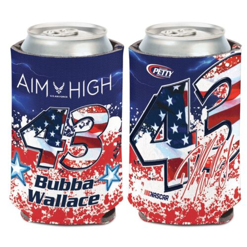 Bubba Wallace 2018 Wincraft #43 USAF Patriotic 12oz Can Coolie FREE SHIP!