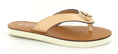 Spot on F0664 Ladies Nude Slip On Toe Post Verano Flip Flop Sandal (R32B) (Kett)