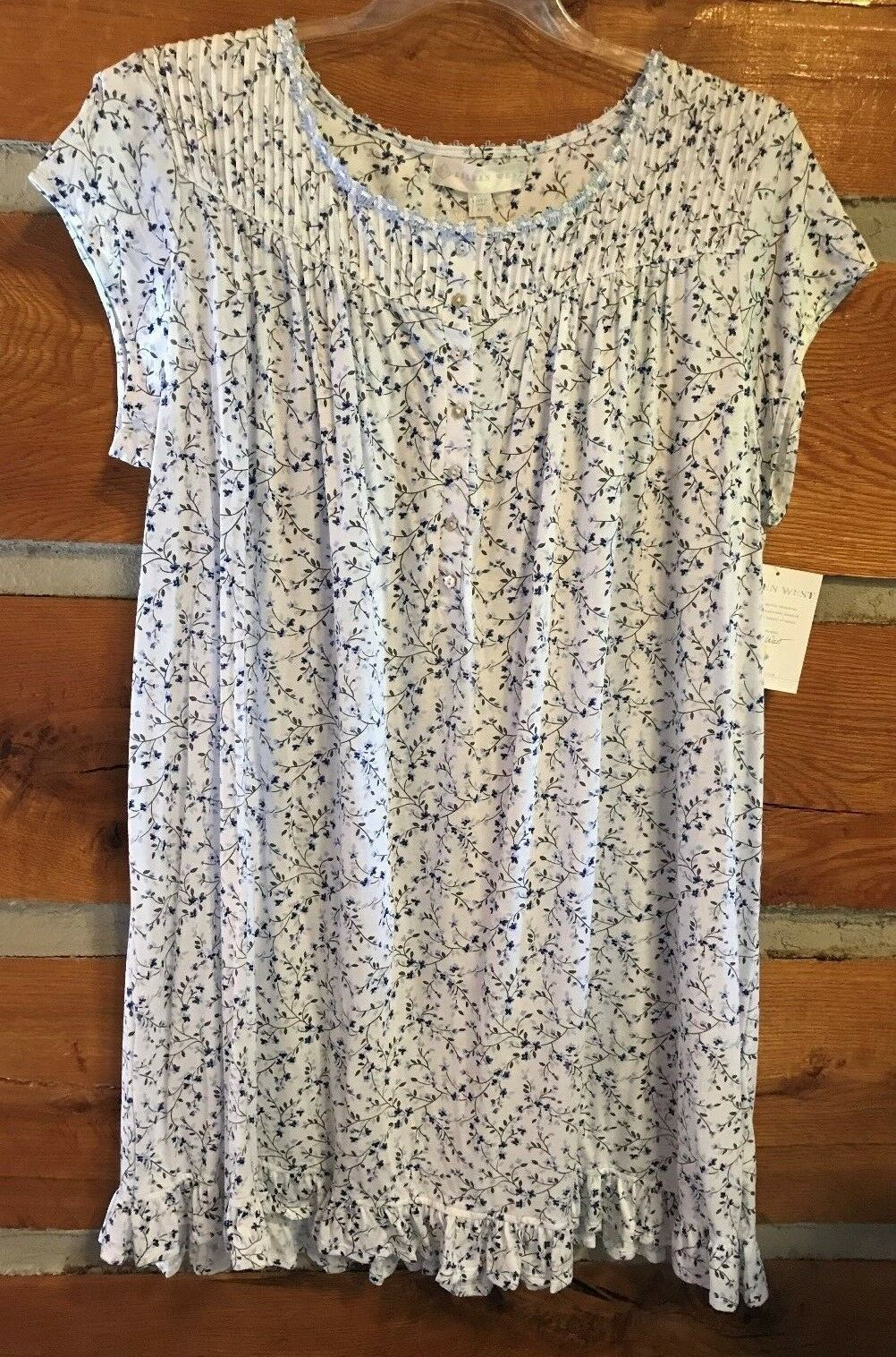 New w tag EILEEN WEST knee length gown - XLg - modal knit floral