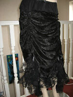 Black,purple,red,green Gothic Runched Long Lace Skirt