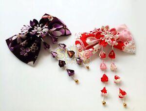 Sakura-Tsumami-Zaiku-Kanzashi-Lolita-Bowknot-Japanese-Kimono-Hair-Accessory