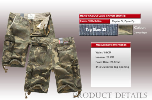 Mens FOX JEANS Elton Casual Camo Military Army Cargo Work Shorts SIZE 32-44