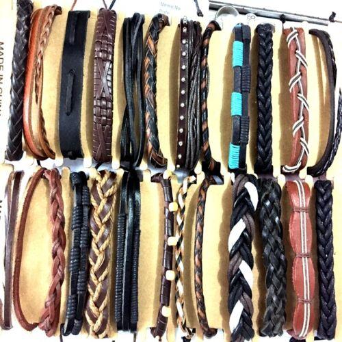 Display card  24 Mens Leather bracelets wholesale punk wristbands retro style