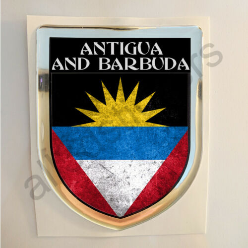 Antigua and Barbuda Sticker Resin Domed Stickers Flag Grunge 3D Adhesive Gel Car
