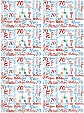 70th Birthday Blue And Red Personalised Gift Wrapping Paper Add A