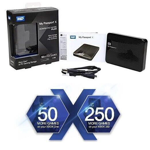 2TB WD My Passport X USB 3.0 Game Drive Compatible With PC XBOX One XBOX 360
