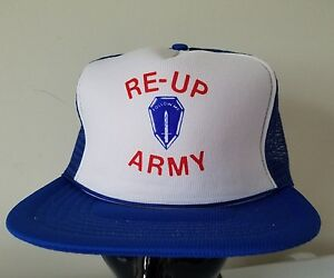 Details about Re-up Army Recruiting Join Me Sword Vintage mesh foam trucker  snapback hat cap