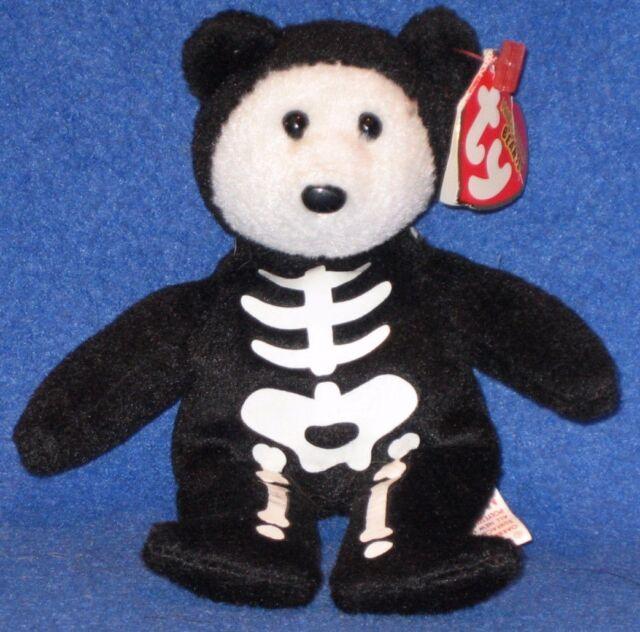"TY BONESES the BEAR 5"" HALLOWEENIE BEANIE BABY - MINT with MINT TAG"