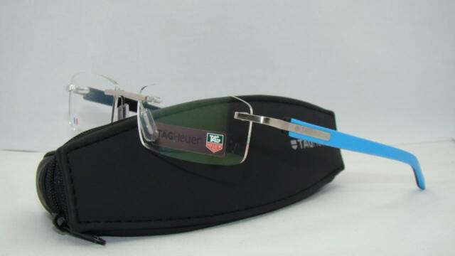 a61c91e173 Tag Heuer TRENDS 8108 009 Azur Blue  Black Rimless Brille Eyeglasses Frames  54mm