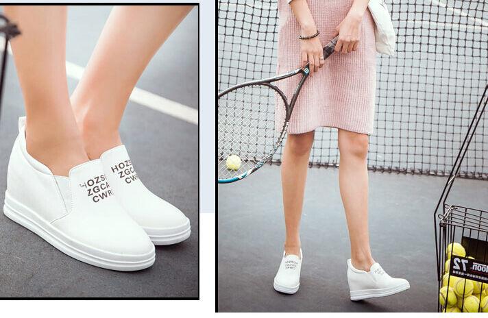 Ballerines mocassins chaussures pour femmes talon 4.5 blanc comme cuir