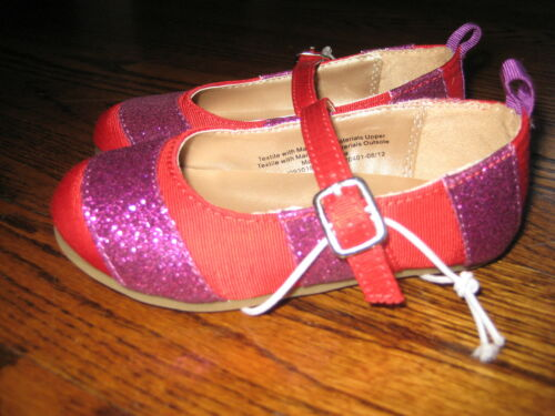 Toddler Girls Red Ballet Flats w// Purple Sparkle Size 9 or 10 NWT