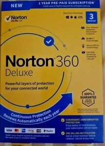 Details about Norton 360 Deluxe 3 Devices 1 Year Android|Mac|Win|iOS [VPN,  25GB Cloud Backup ]